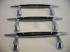 Three Vintage CHROME with Black Trim TAPPAN Stove Oven Door Handles Drawer Pulls