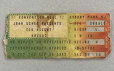 Ted Nugent Krokus Rare Concert Ticket Stub Asbury Park, Nj 09/16/1982