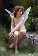 """1890- William Bouguereau, Love on the Look Out, Cupid, antique,16""""x11"""" Art Print"""