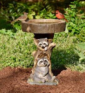 Garden Birdbath Raccoon Pedestal Resin Feeder Outdoor Lawn Yard Accent Decor 2ft