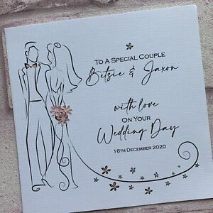 PERSONALISED Handmade  WEDDING DAY Congratulations CARD Sparkles 3D Flowers