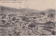 1416 FERROVIA ERITREA STAZIONE DI GHINDA, VG. MASSAUA 1914 COPPIA  5c LEONI SOP.