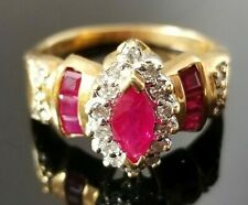 Vintage Red Ruby Diamond 18k yellow/white gold ring