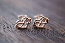 Sterling Silver 10mm Infinity Heart Ear studs w/scrolls