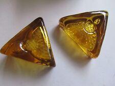 RARE Vintage Afors Scandinavian Art Glass Triangle Candle Holders Christmas Gift