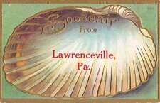 Lawrenceville Pennsylvania Souvenir Scallop Shell Antique Postcard K19434