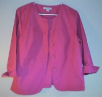 Coldwater Creek S 8 hot pink cotton 3/4 sleeve unlined round neck jacket NWOT