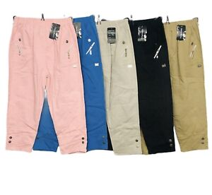 New Ladies Cropped Three Quarter Capri Trouser Cotton Stretchy Summer Casual