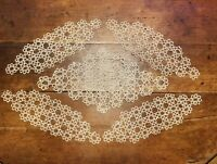 Antique Tatted Lace Doilies Creme Lot of 5 Handmade 1920s with History