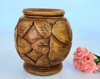 Vintage Hand-Carved Beautiful Wooden Floral Vase