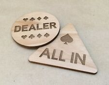 Set of 2 Engraved Wood All In & Dealer Button Poker Stars For Poker