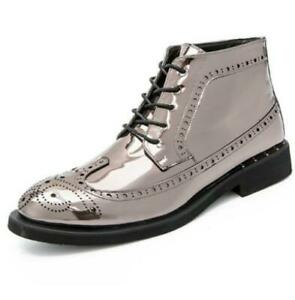 Mens Shoes Patent Leather Ankle Boots Lace Up Flat Casual Bullock Plus British f