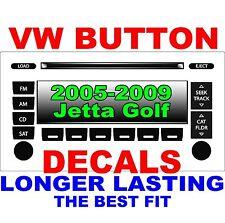 2005–2009 Volkswagen JETTA GOLF PASSAT Matte Black Radio Stereo Button Decal