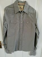 HOLLISTER MENS KHAKI GREEN WHITE CHECK SHIRT SIZE SMALL LONG SLEEVE POCKETS