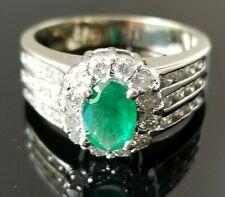 2TCW Beautiful Green Emerald Diamond 14k white gold ring