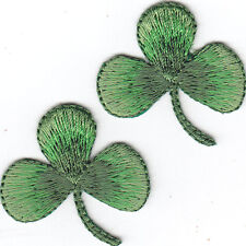 """SET OF 2-THREE LEAF CLOVERS(1 1/4"""")-Iron On Patch/Shamrock, St. Patrick's Day"""