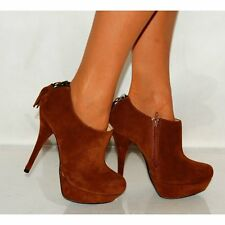 LADIES BROWN FAUX SUEDE ZIP UP ANKLE BOOTS STILETTO HIGH HEELS SHOES SIZE 3-8