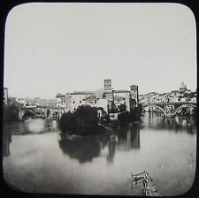 Glass Magic Lantern Slide ISLAND IN THE RIVER TIBER C1900 ROME PHOTO ITALY ROMA