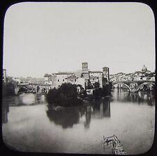 Glass Magic Lantern Slide ISLAND IN THE RIVER TIBER C1900 ROME PHOTO ITALY ROMA