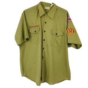 Vintage Boy Scouts of America Olive Green Short Sleeve Button Uniform Shirt XL