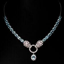 Sterling Silver 925 Genuine Natural Neon Apatite Tiger Design Necklace 17-19 In