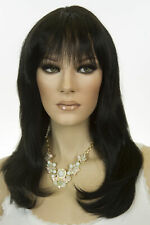 Ash Black Brunette Long Medium Human Hair Monofilament Hand Tied Straight Wigs