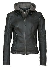Gipsy Mauritius Damen Lederjacke Jacke Echtleder Lammnappe Leder Kapuze schwarz