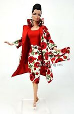 Red Rose Dress Outfit Coat For Barbie Silkstone Vintage Repro Fashion Royalty FR