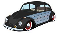 Blue Woodie Woody design rétro sur Old School VW Beetle IMAGE Autocollant Voiture Décalque