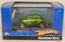 "Micro Hot Wheels Custom Volkswagen Beetle Green Mini 1/87 Scale VW Under 2"" Long"
