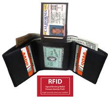 Black RFID Blocking Men's Leather Trifold Wallet 2 ID Card Holder