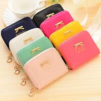 Top Womens Leather Mini Bowknot Purse Zipper Small Clutch Wallet Card Holder Bag