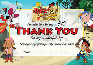 PIRATE Jake Neverland Pack of 10 THANK YOU CARDS Kids Children birthday