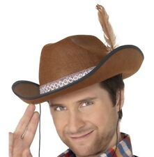Cowboy Deluxe Fancy Dress Dallas Hat & Feather Brown Durable Hat by Smiffys