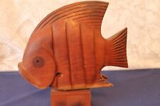 More details for vintage large hand carved wooden fish on base 25cms x 25cms x 5cms