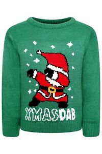 Boys Girls Kid Santa Christmas Xmas Novelty Funny Jumper Knit Sweater Gift NEW