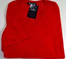 AQUASCUTUM 100% Cashmere Maglione Pullover Rosso taglia M Vee Neck NUOVO CON ETICHETTA