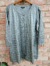 Fab Eileen Fisher Woman Tunic Top Blouse 1X Gray 100% Silk Crinkle Button Front