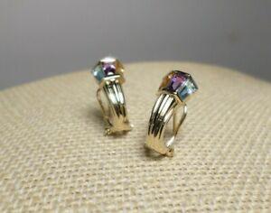 Vintage 14k Gold Multicolor Trapezoid Shape Stone Antique Lantern Earrings