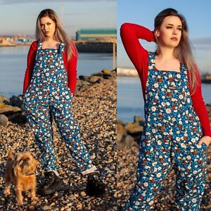 Run and Fly Ladybird Floral Print Dungarees in Stretch Twill Cotton Overalls