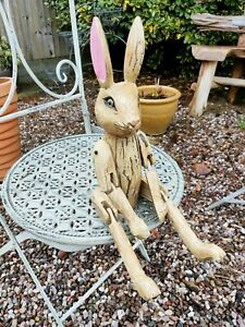 Wooden Hare Articulated Puppets -  Distressed With Moving Joints  30cm Sitting