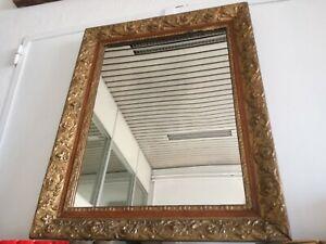 Antique Miroir '800 Verre Mercure Cadre Bois Et Patin 82x65cm