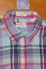 Gant Madras Rugger Plaid Long Sleeve Shirt Made in India 100% Cotton Prep EC! L
