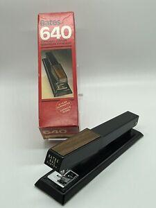 Vintage 1970's Bates 640 Stapler faux wood handle Black Made In U.S.A Heavy Duty