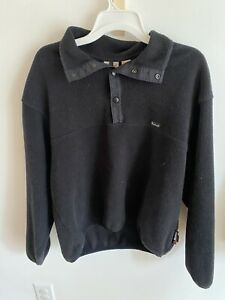 Woolrich Mens Pullover Vintage Fleece Jacket 1/4 Snap Polartec Black Large
