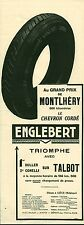 Publicité ancienne voiture automobile pneu Englebert 1925 issue de magazine