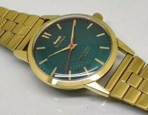 hmt sona hand winding men's gold plated green dial vintage india watch run