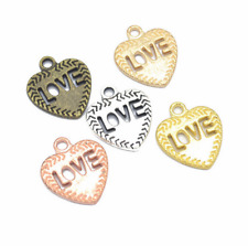 Wholesale 6pcs Tibet silver Love Heart Charm Pendant beads Jewelry Making DIY ~