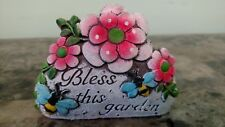 "Decorative Garden Stone ""Bless this garden"" with Flowers & Bees"
