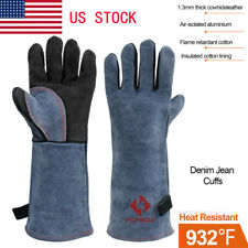 1 Pair Welding Gloves Welder Cowhide Leather Resistant Lined Bbq Oven Blacksmith
